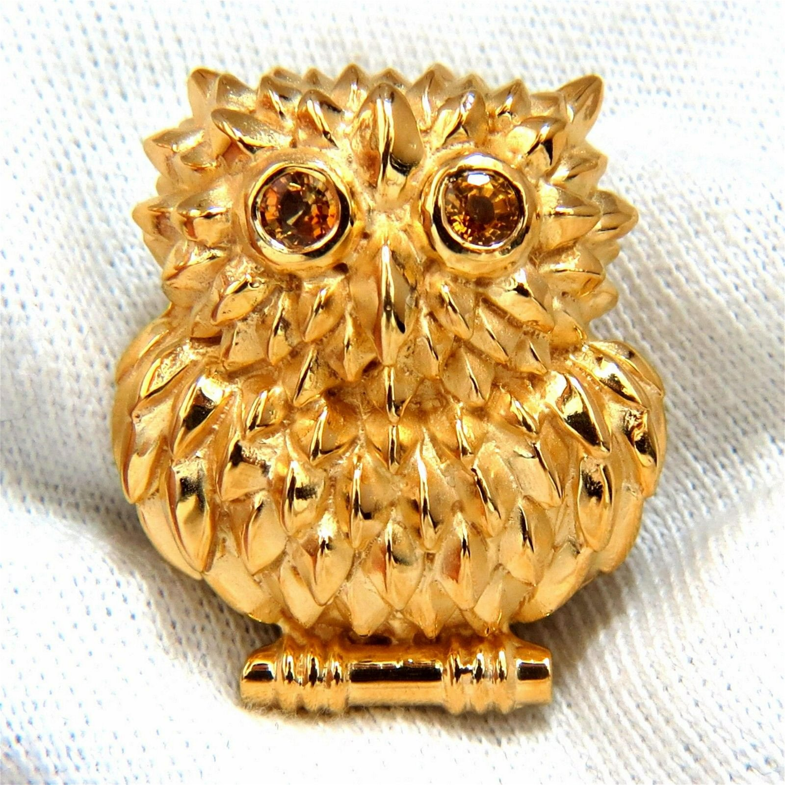 14kt Vintage Sapphire Owl Brooch Pin 3D Cute