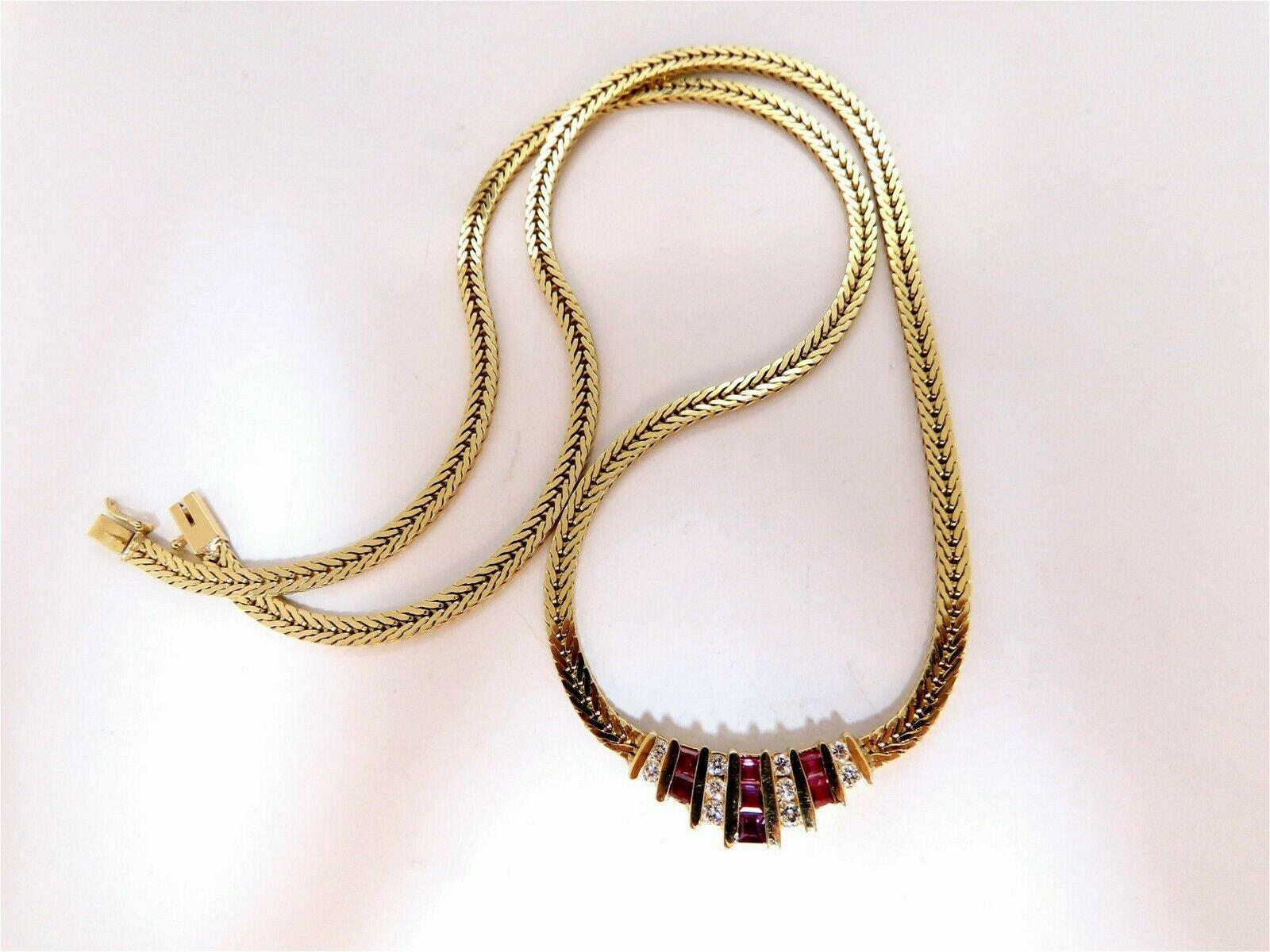 1.36ct Natural Ruby Diamonds Herringbone Necklace 14 kt