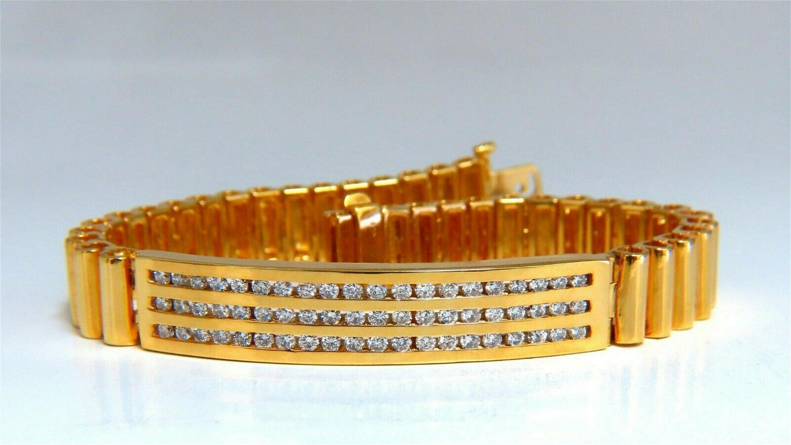 2.00ct Round Diamonds ID Tag Bracelet 14 karat Channel