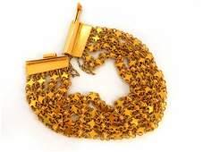 18kt. yellow gold vintage wide caliber bracelet mesh