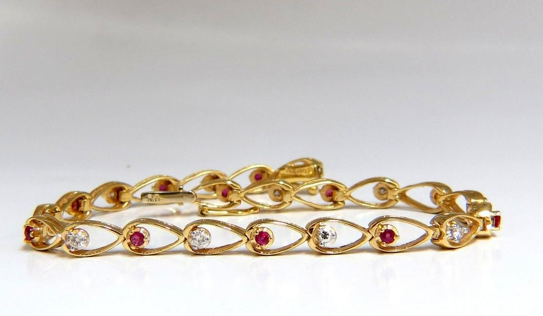 1.00ct natural ruby diamond pear form outline bracelet