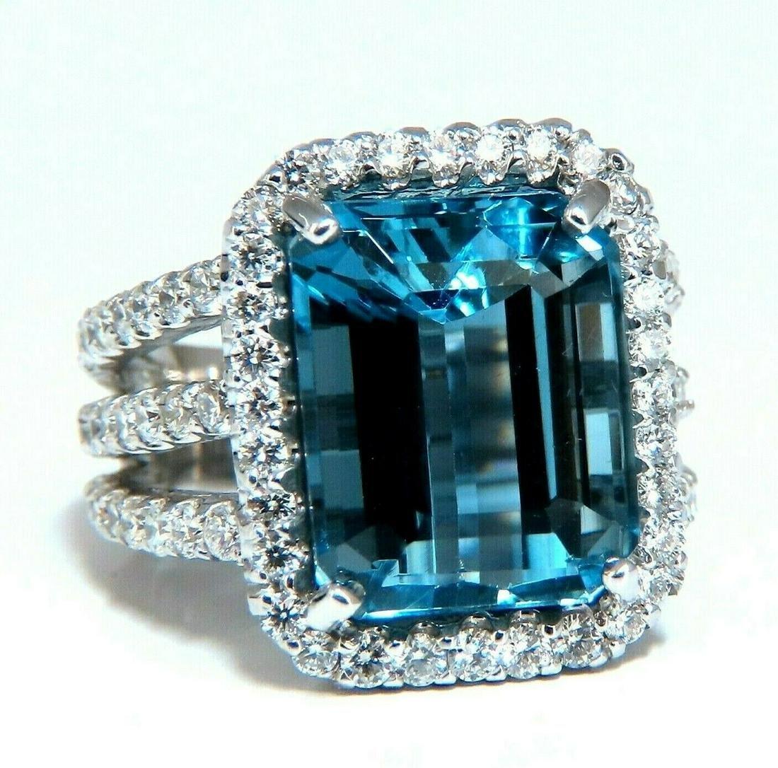 17.40ct Natural Vivid Swiss Blue Diamonds Ring 14 Karat