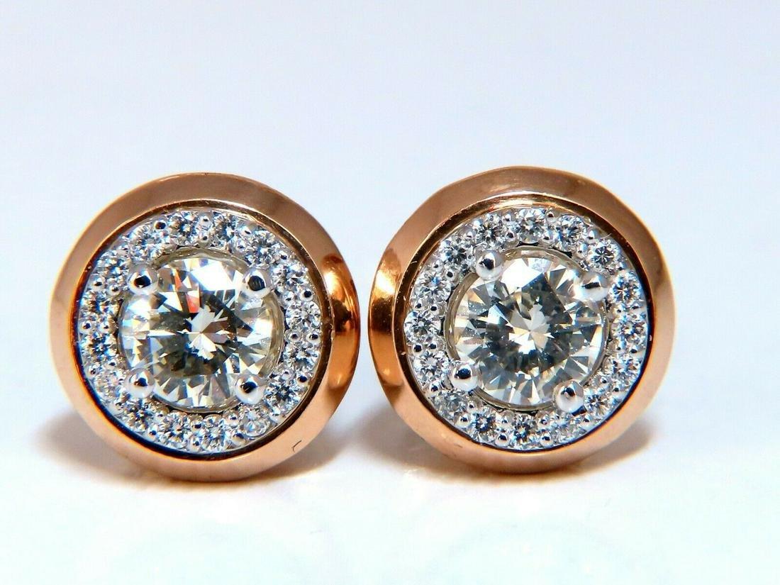 1.12ct Natural Round Diamond Stud Earrings 14 Karat