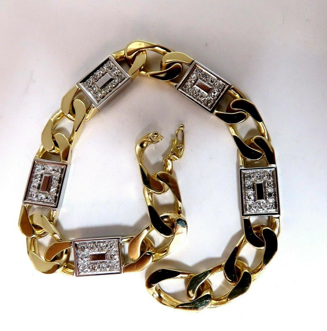 Mins Wide Curb Link 1.30ct Diamonds Bracelet 18 Karat
