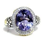 John Hardy Amethyst Diamond Ring Silver & 18 Karat