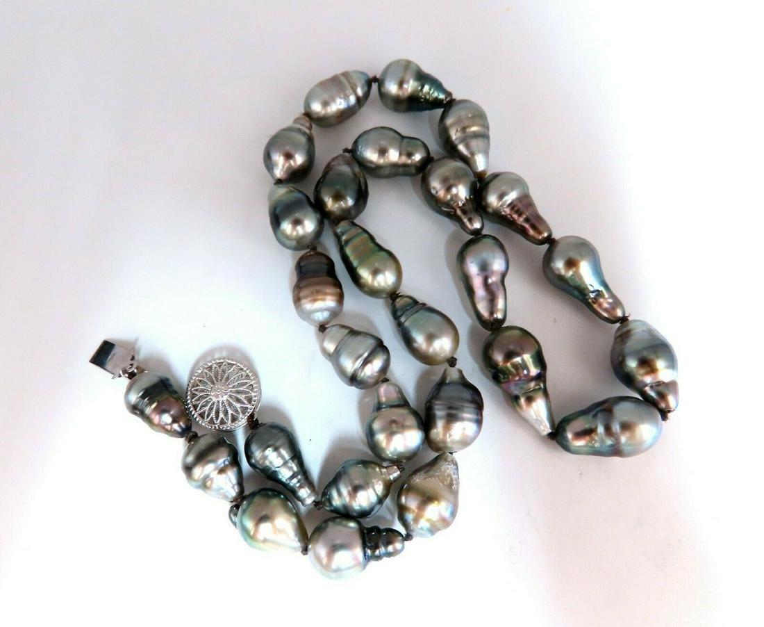 10mm Natural Baroque Tahitian Pearls Necklace 14 karat