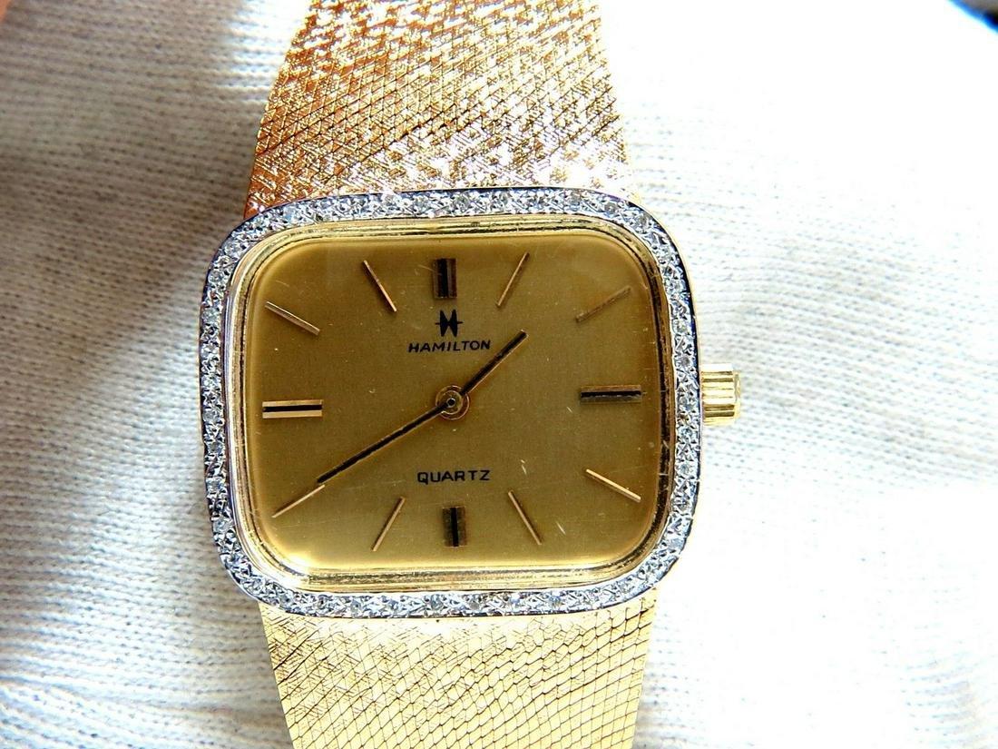 14kt Hamilton Mens Gold Watch .36 diamonds