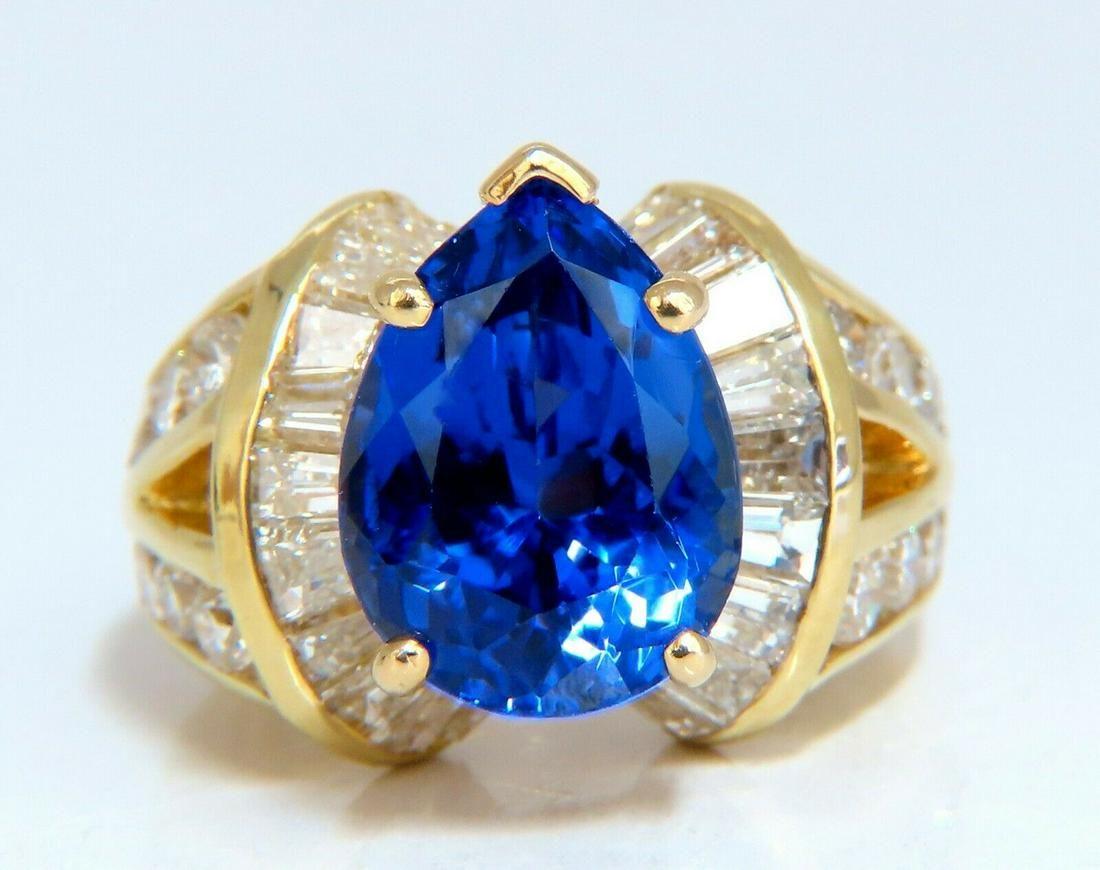 5.10ct Natural Tanzanite 2.10ct Diamonds Ring 14 Karat
