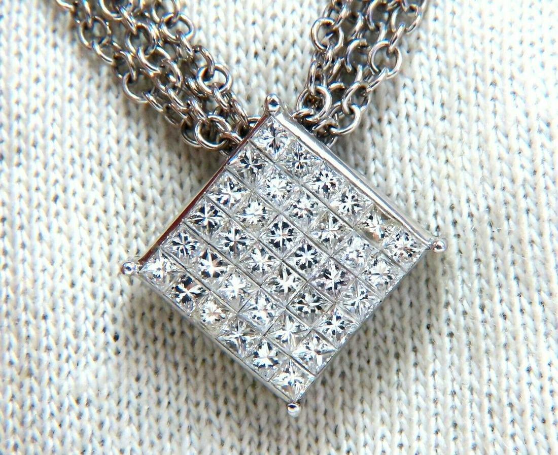 1.30ct Natural Princess Cut Diamonds Multistrand Neckla