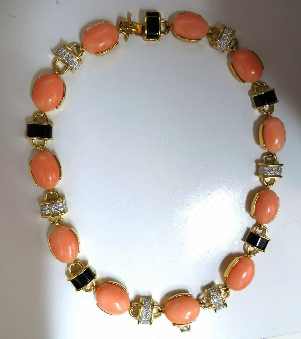 4.25ct natural diamonds Pink Coral & Black Onyx Link