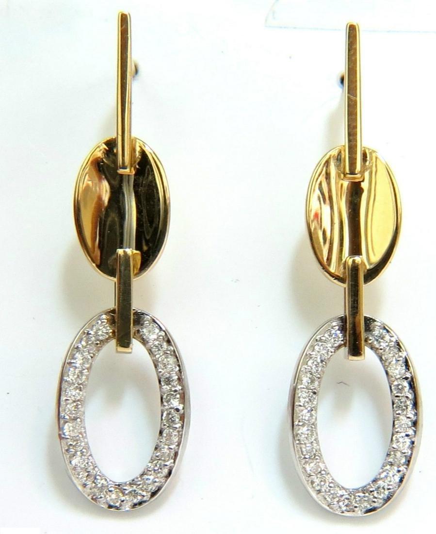 .40CT DIAMONDS DANGLE EARRINGS 14KT TWO TONED F/VS