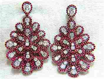 7.76ct Natural Ruby Diamond Dangle Chandelier cluster