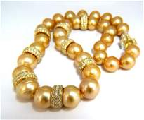 GIA certified Natural Golden Pearls Necklace 18kt Fancy