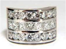 4.02ct Natural Princess Round Diamonds Band Three Row
