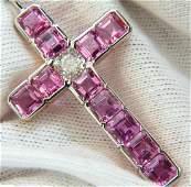 18KT GIA 10.41CT NATURAL PINK SAPPHIRE DIAMOND CROSS