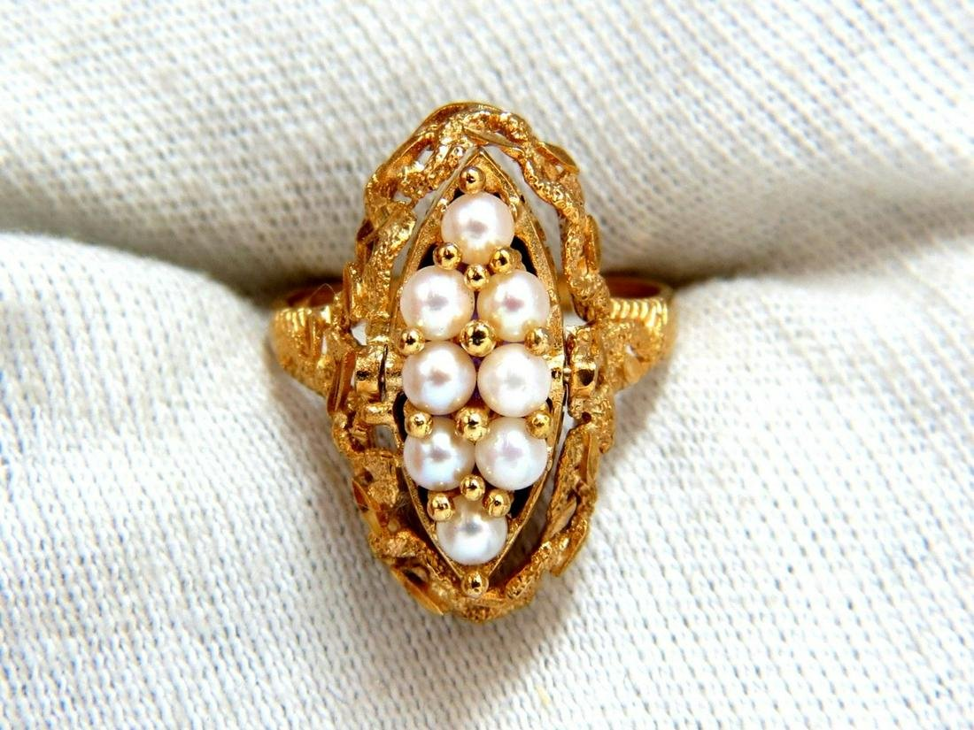 5.00ct Natural Amethyst Seed Pearl Gypsy 14kt Ring