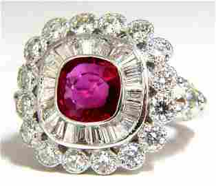 Ballerina Cocktail Cluster No Heat Ruby Diamond Ring
