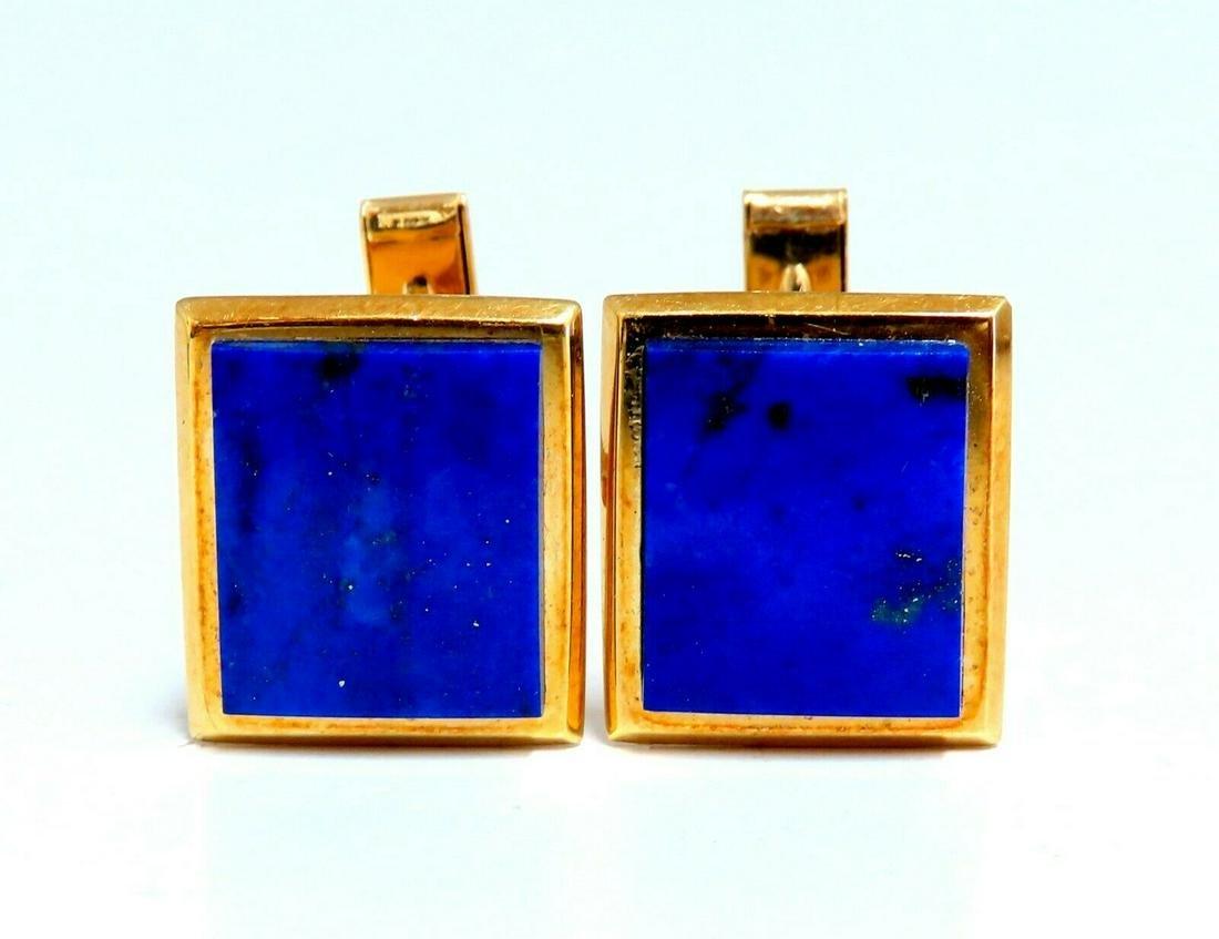 Mens Natural Lapis Lazuli Cufflink Cobalt Blues