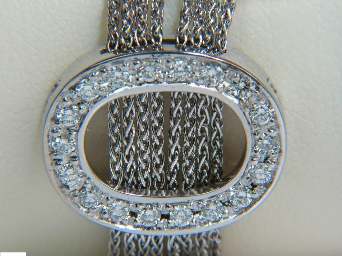 "ITALY 18KT 1.41CT THREE ""O"" OVALS ROUND DIAMONDS LINKS"