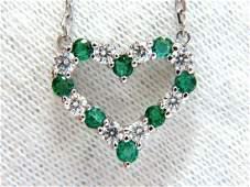 Natural Emeralds & Diamonds open heart necklace .90ct.
