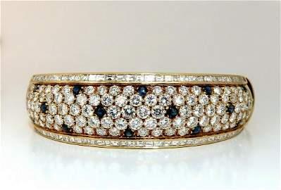 15.50ct Natural Sapphire Diamonds Bangle Bracelet 18 Kt