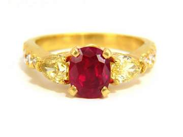 """GIA Certified 4.08ct natural """"vivid"""" red ruby diamonds"""
