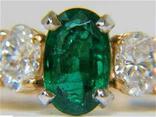 3.20ct NATURAL EMERALD DIAMOND RING CLASSIC 3 14KT A+
