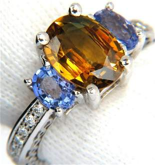 3.68CT NATURAL FANCY VIVID YELLOW BROWN SAPPHIRE