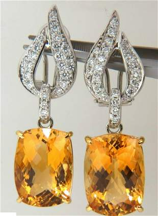 26.50CT NATURAL GOLDEN CITRINE DIAMOND DANGLE EARRINGS
