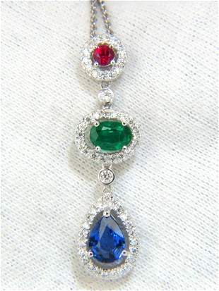 3.07CT NATURAL SAPPHIRE EMERALD RUBY DIAMOND CLUSTER
