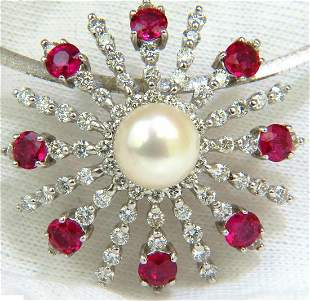 5.75CT NATURAL GEM RUBY DIAMOND 3D STAR BURST PEARL