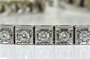 3.21CT DIAMOND BOX DECO TENNIS BRACELET G/VS 14KT HEAVY
