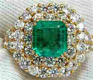 GIA 7.51 Natural Colombia bright green emerald diamonds