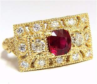GIA 2.31CT NATURAL CUSHION VIVID RED RUBY DIAMONDS