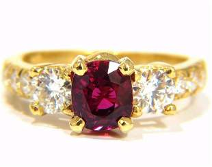 GIA Certified 2.12ct cushion cut vivid red ruby 1.06ct