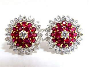 6.26ct natural vivid red ruby diamond domed cluster