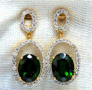 6.80ct natural green diopside diamonds dangle earrings