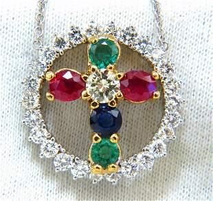 6.65ct natural ruby emerald sapphire diamonds cross 14k