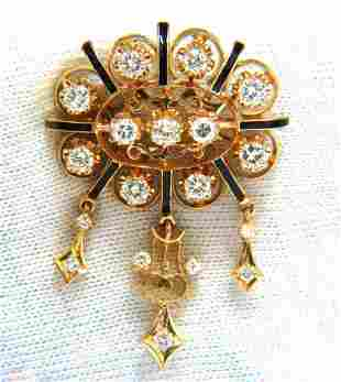 1.50ct diamonds tassel 1960's pendant brooch pin 14kt.