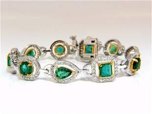 10.62ct natural emeralds diamond halo bracelet 14kt