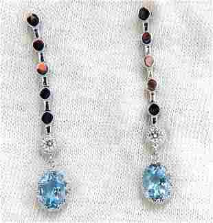 2.60ct natural aquamarines diamonds dangle earrings 14k