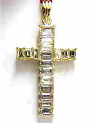 5.23ct natural diamonds baguette cross 18kt