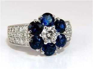 3.96ct natural sapphires diamond cluster ring 14kt roya