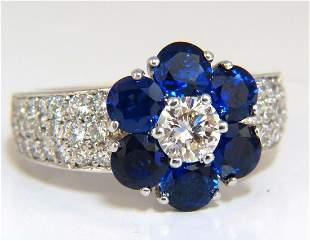 3.66ct natural sapphires diamond cluster ring 14kt roya