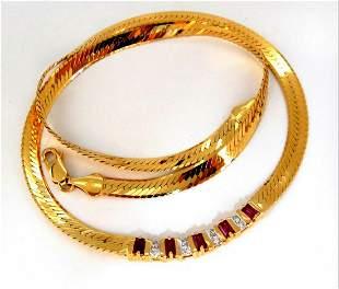 1.00ct Natural Ruby Diamonds Herringbone Necklace 14 kt