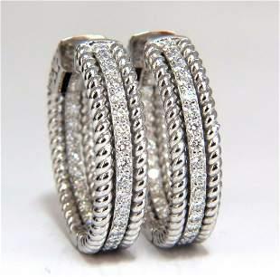 1.00ct natural diamond hoop earrings 14kt g/vs Barley