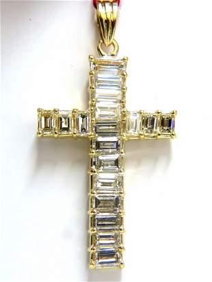 5.23ct natural diamonds baguette cross 18kt
