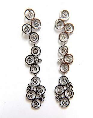 1.00ct diamonds floating circle dangle earrings 14kt
