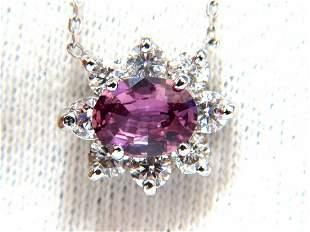 2.06ct natural purple pink sapphire cluster diamond