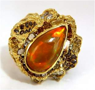 12.25ct natural opal diamonds ring 18kt Nugget Deco
